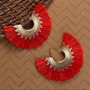NWT Red Sunburst Fringe Earrings